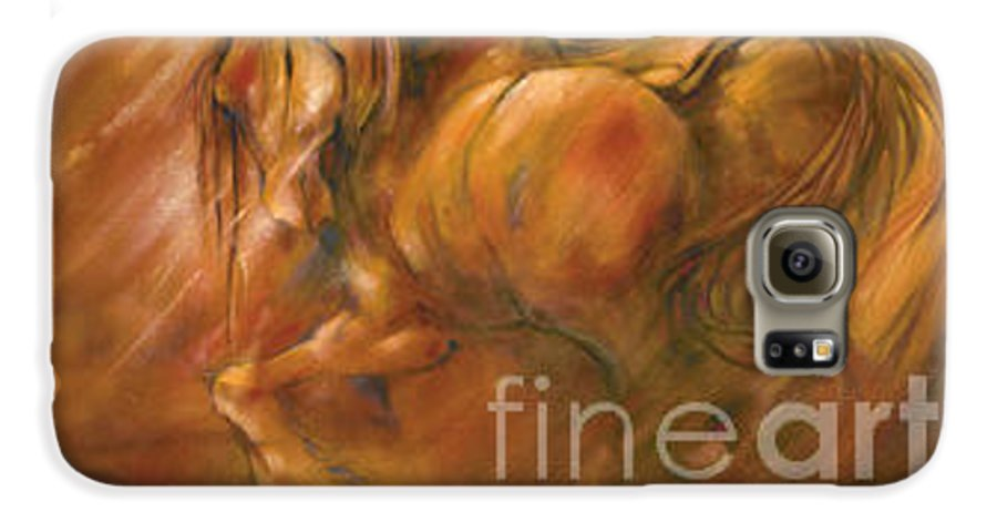 Horse Galaxy S6 Case featuring the painting Fire by Wendy Froshay