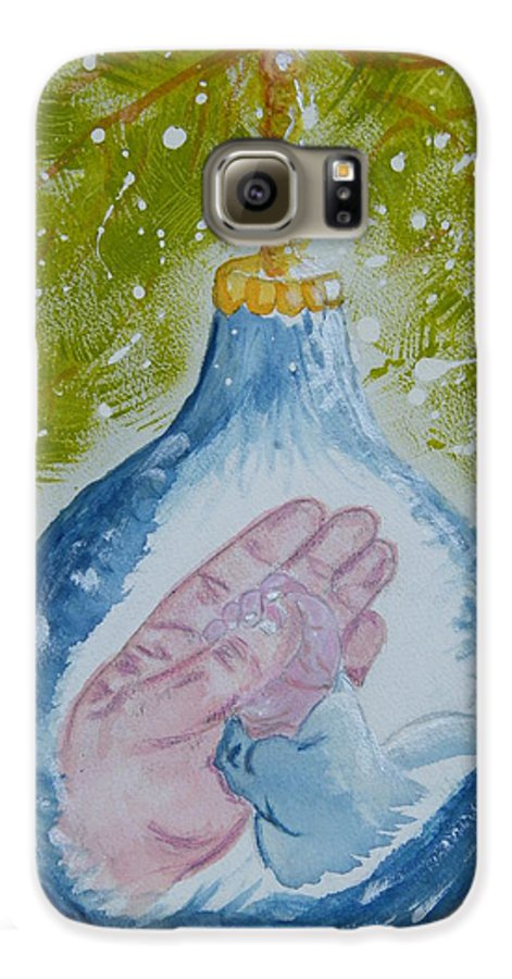 Christmas Galaxy S6 Case featuring the painting First Christmas II by Margaret G Calenda