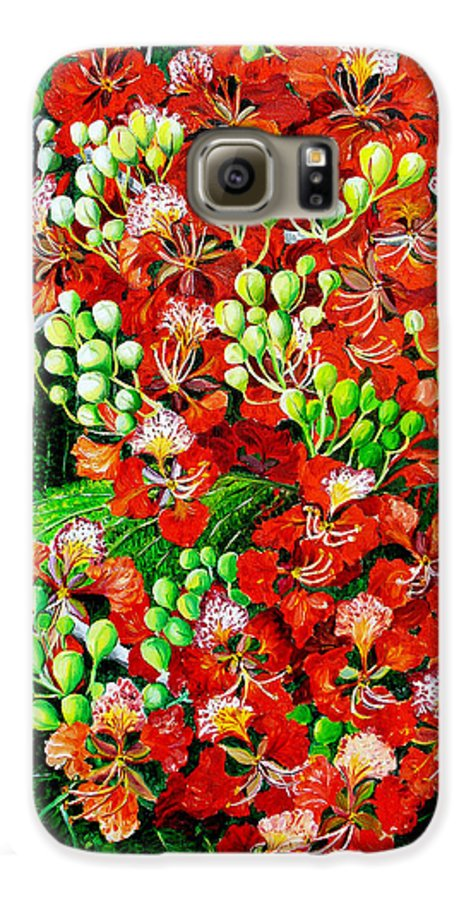 Royal Poincianna Painting Flamboyant Painting Tree Painting Botanical Tree Painting Flower Painting Floral Painting Bloom Flower Red Tree Tropical Paintinggreeting Card Painting Galaxy S6 Case featuring the painting Flamboyant In Bloom by Karin Dawn Kelshall- Best