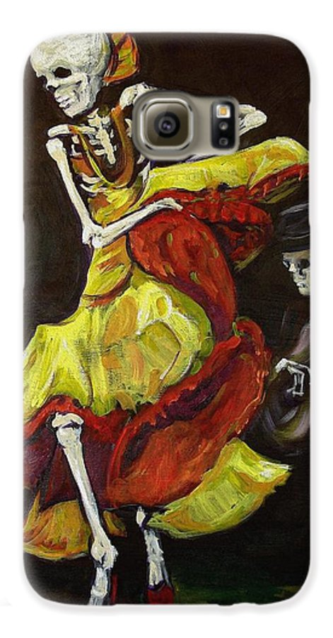 Muertos Galaxy S6 Case featuring the painting Flamenco Vi by Sharon Sieben