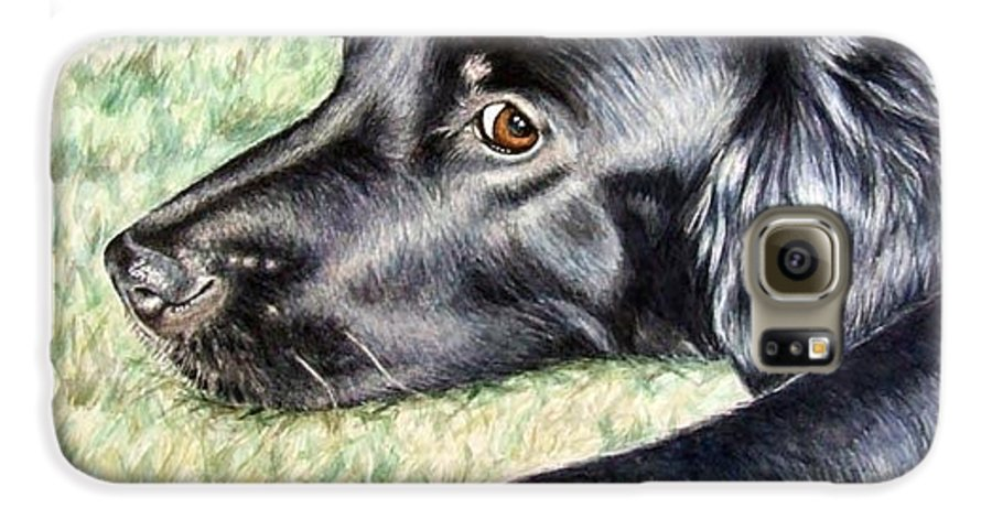 Dog Galaxy S6 Case featuring the painting Flat Coated Retriever by Nicole Zeug