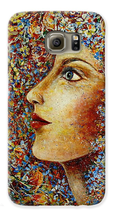 Flower Goddess Galaxy S6 Case featuring the painting Flower Goddess. by Natalie Holland