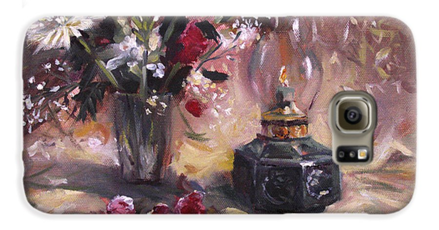 Flowers Galaxy S6 Case featuring the painting Flowers With Lantern by Nancy Griswold