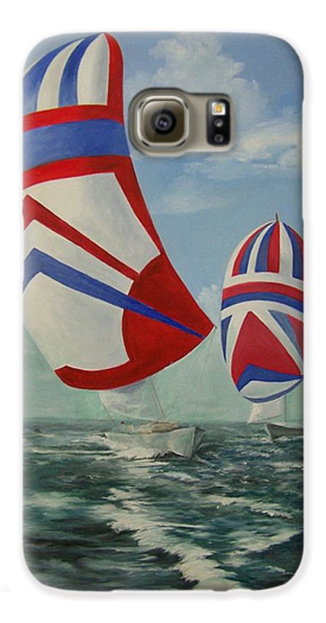 Sailing Ships Galaxy S6 Case featuring the painting Flying The Colors by Wanda Dansereau