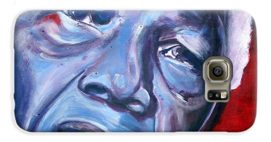 Nelso Mandela Galaxy S6 Case featuring the painting Freedom - Nelson Mandela by Fiona Jack