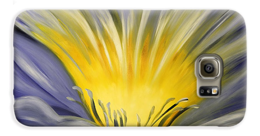 Blue Galaxy S6 Case featuring the painting From The Heart Of A Flower Blue by Gina De Gorna