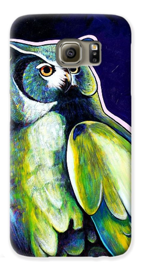 Owl Galaxy S6 Case featuring the painting From The Shadows by Joe Triano
