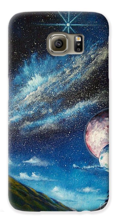 Space Horizon Galaxy S6 Case featuring the painting Galatic Horizon by Murphy Elliott