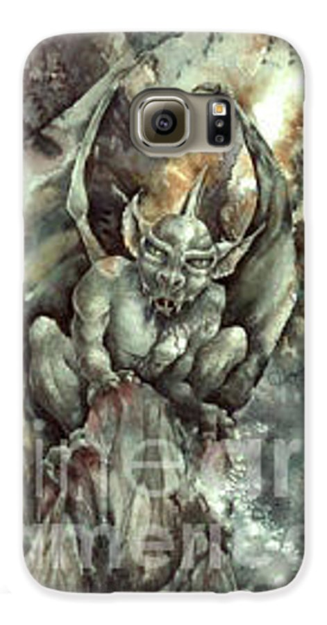 Gargoyle Galaxy S6 Case featuring the painting Gargoyle by Wendy Froshay