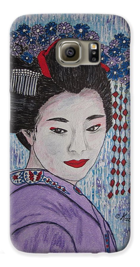 Oriental Galaxy S6 Case featuring the painting Geisha Girl by Kathy Marrs Chandler