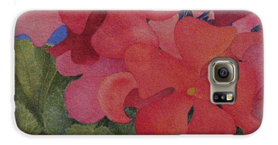 Florals Galaxy S6 Case featuring the painting Generium by Mary Ellen Mueller Legault