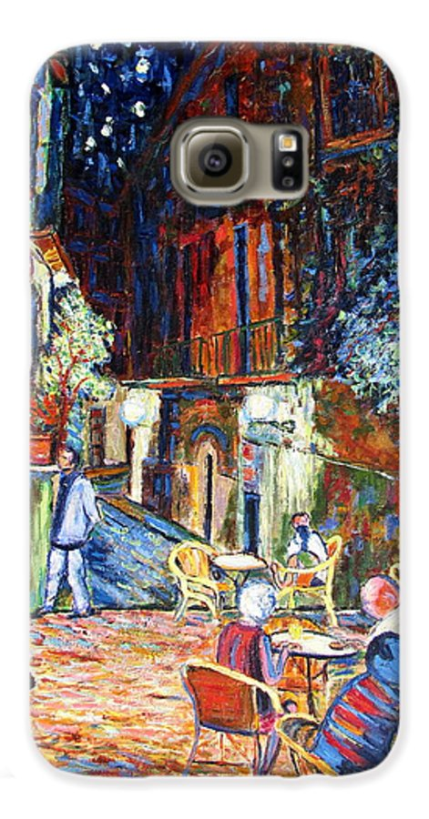 Impressionsist Spain Cafe Night Stars Van Gogh Galaxy S6 Case featuring the painting Gerona by Rob White