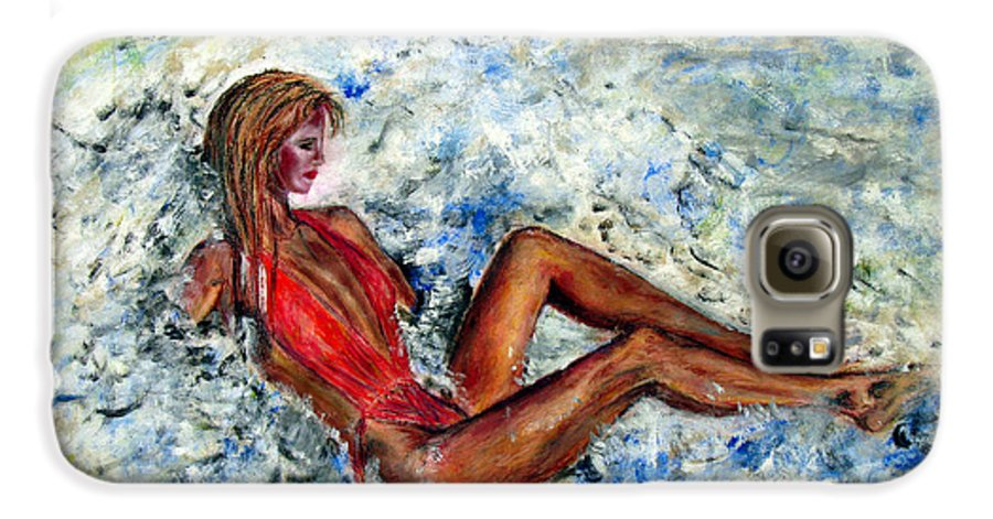 Girl Galaxy S6 Case featuring the painting Girl In A Red Swimsuit by Tom Conway