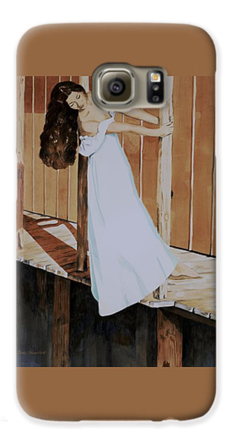 Girl On Dock Galaxy S6 Case featuring the painting Girl On Dock by Judy Swerlick