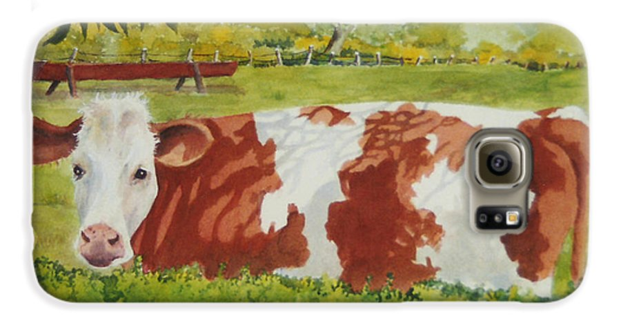 Cows Galaxy S6 Case featuring the painting Give Me Moooore Shade by Mary Ellen Mueller Legault
