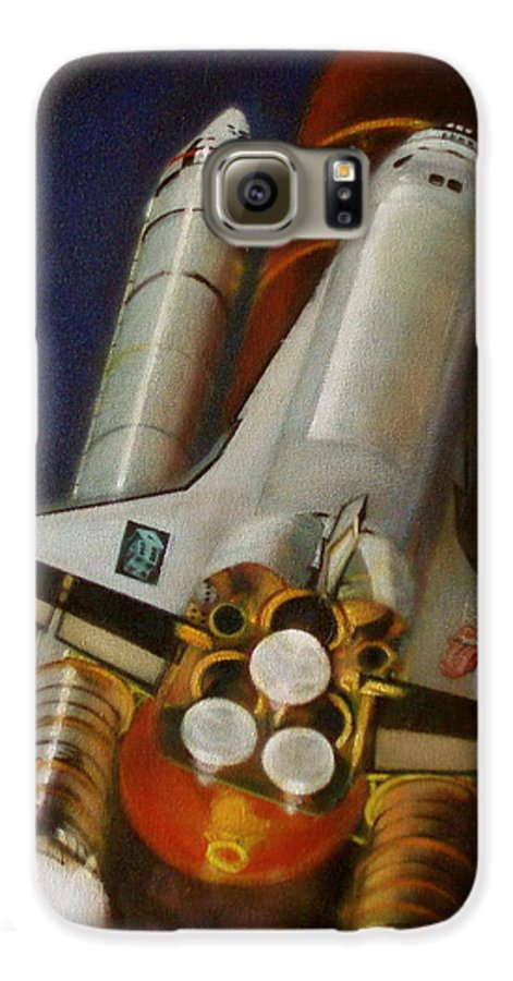 Space Shuttle;launch;liftoff;blastoff;rockets;engines;astronauts;spaceart;nasa;photorealism Galaxy S6 Case featuring the painting God Plays Dice by Sean Connolly
