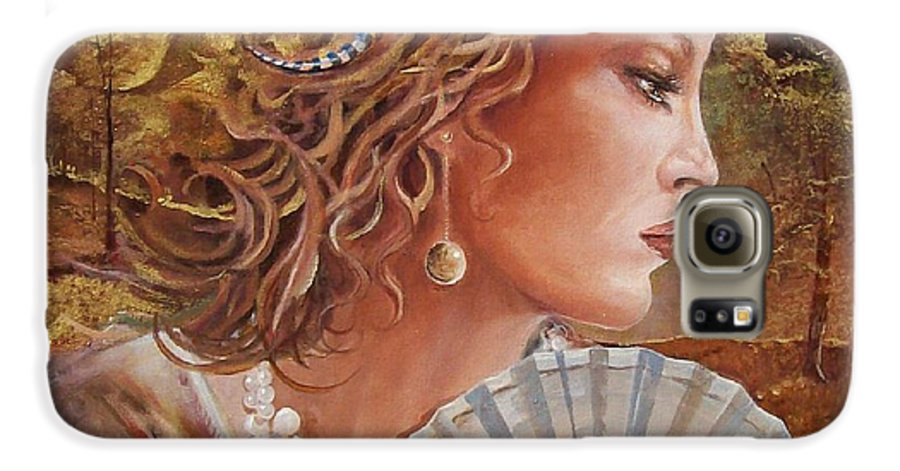Female Portrait Galaxy S6 Case featuring the painting Golden Wood by Sinisa Saratlic