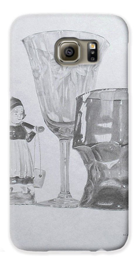 Glassware Galaxy S6 Case featuring the drawing Grammas Glasses by Mary Ellen Mueller Legault