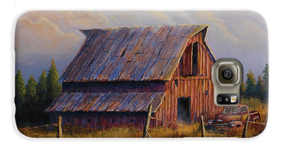 Barn Galaxy S6 Case featuring the painting Grandpas Truck by Jerry McElroy