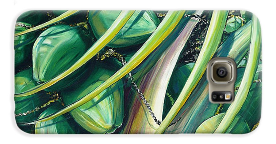 Coconut Painting Caribbean Painting Coconuts Caribbean Tropical Painting Palm Tree Painting  Green Botanical Painting Green Painting Galaxy S6 Case featuring the painting Green Coconuts 2 by Karin Dawn Kelshall- Best