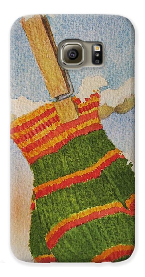 Children Galaxy S6 Case featuring the painting Green Mittens by Mary Ellen Mueller Legault