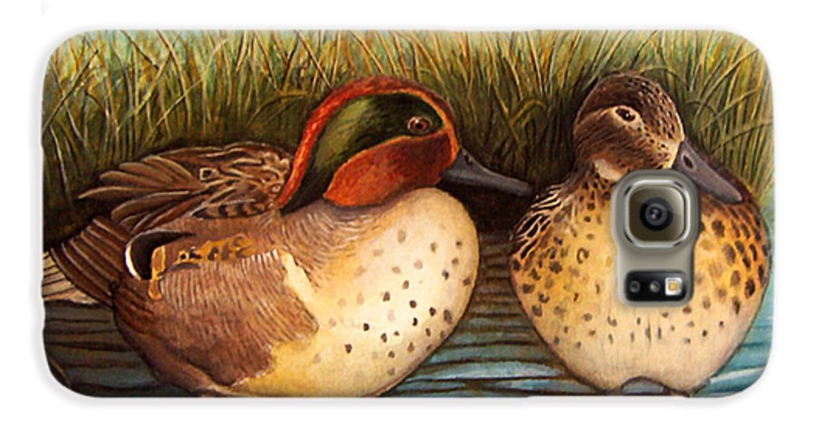 Rick Huotari Galaxy S6 Case featuring the painting Green Winged Teal by Rick Huotari