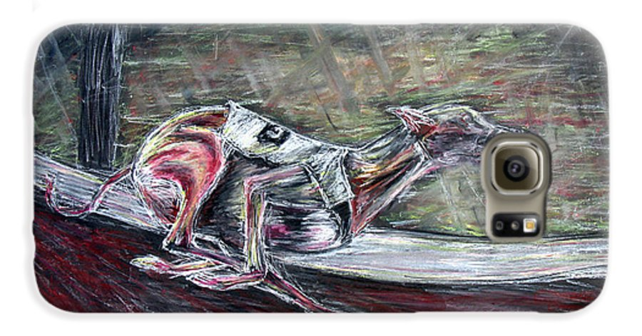 Dog Galaxy S6 Case featuring the drawing Greyhound Number Three by Tom Conway