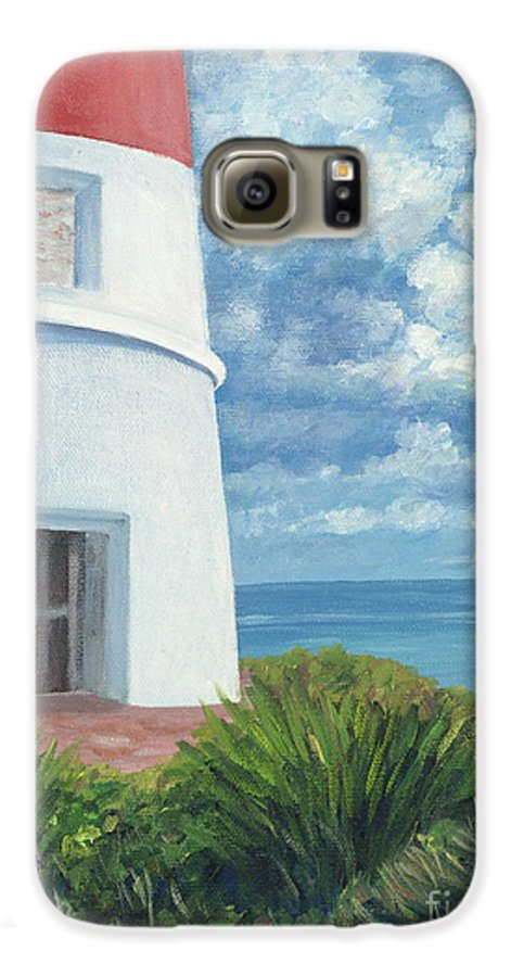 Seascape Galaxy S6 Case featuring the painting Gun Cay Lighthouse by Danielle Perry