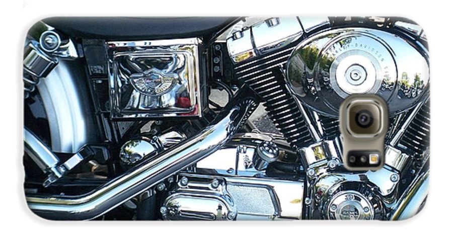 Motorcycles Galaxy S6 Case featuring the photograph Harley Black And Silver Sideview by Anita Burgermeister