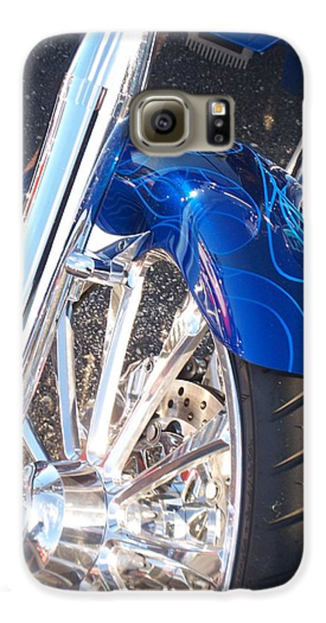 Motorcycles Galaxy S6 Case featuring the photograph Harley Close-up Blue Flame by Anita Burgermeister