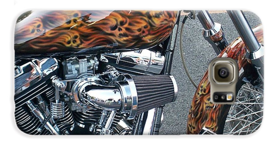 Motorcycles Galaxy S6 Case featuring the photograph Harley Close-up Skull Flame by Anita Burgermeister