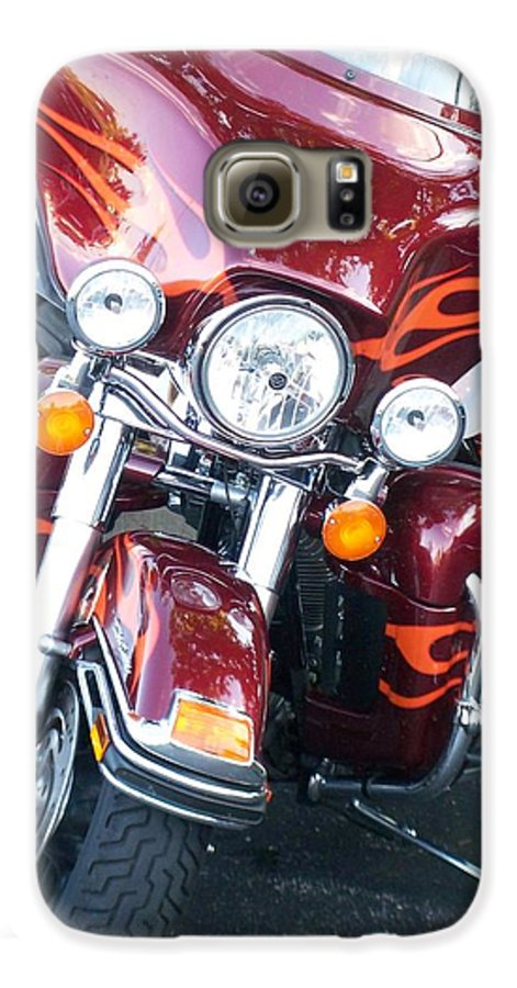 Motorcycles Galaxy S6 Case featuring the photograph Harley Red W Orange Flames by Anita Burgermeister