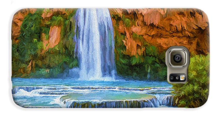 Fine Art Galaxy S6 Case featuring the painting Havasu Falls by David Wagner