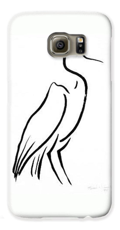 Calligraphy Galaxy S6 Case featuring the drawing Heron by Micah Guenther