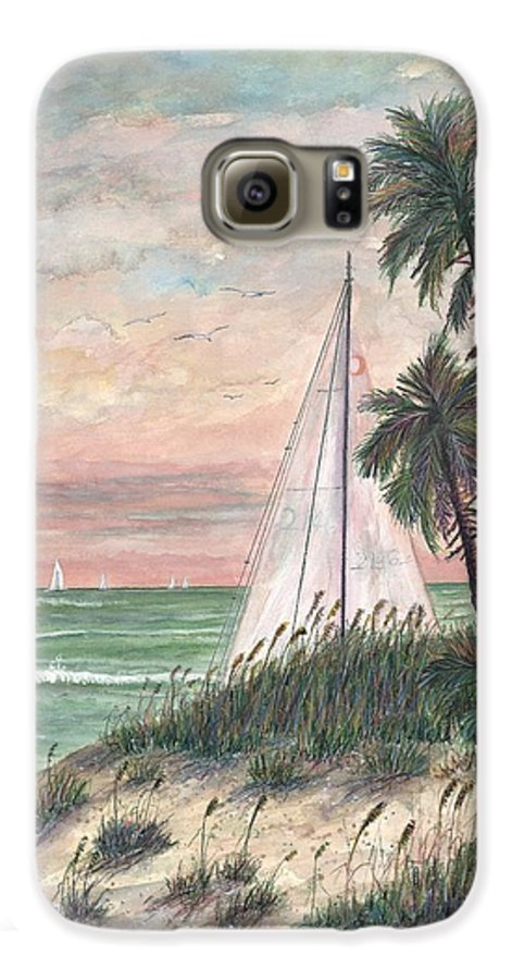 Sailboats; Palm Trees; Ocean; Beach; Sunset Galaxy S6 Case featuring the painting Hideaway by Ben Kiger
