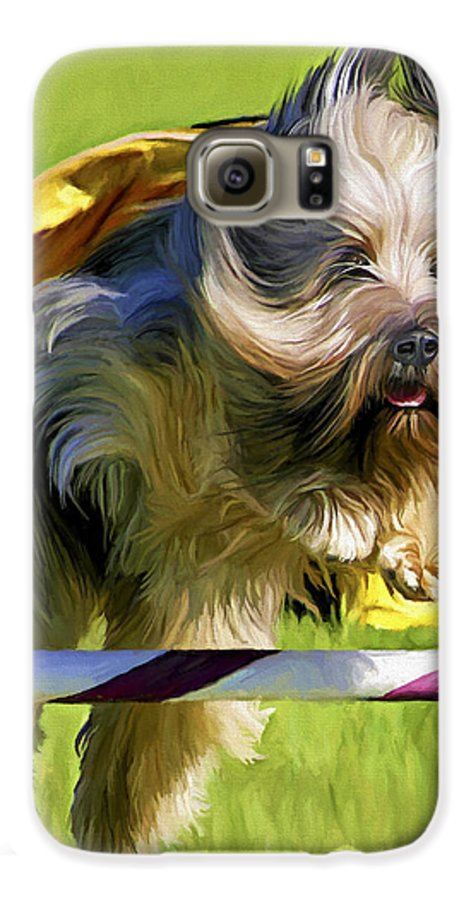 Silky Terrier Galaxy S6 Case featuring the painting High Flier by David Wagner
