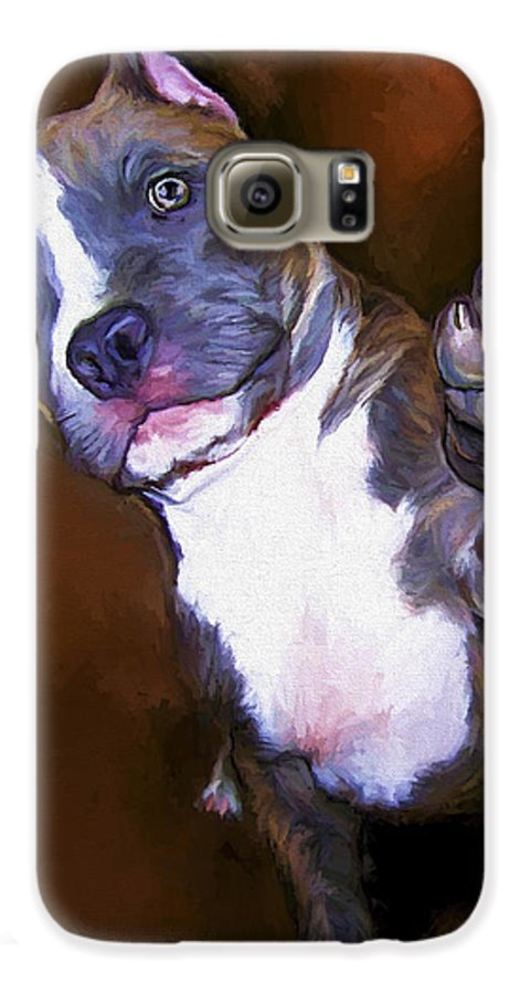 Pit Bull Galaxy S6 Case featuring the painting High Four by David Wagner