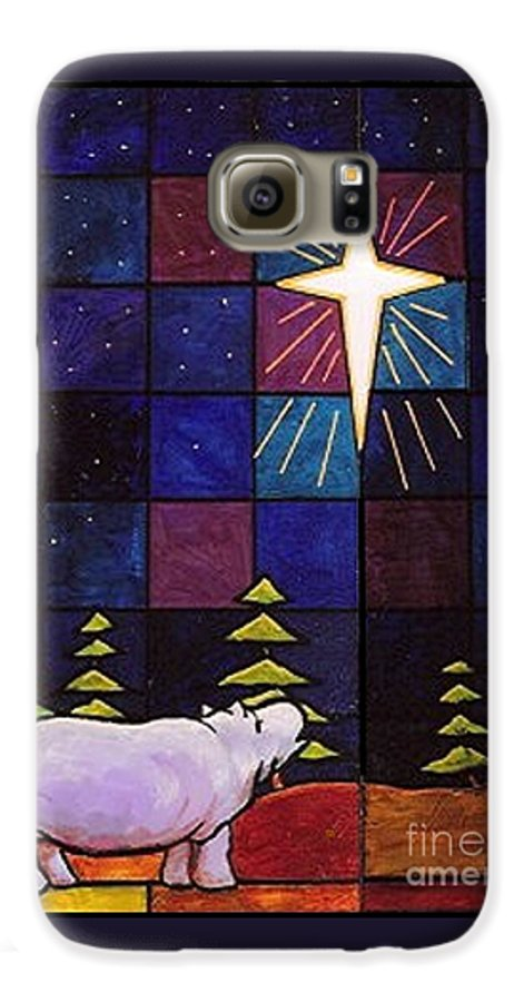 Christmas Galaxy S6 Case featuring the painting Hippo Awe And Wonder by Jim Harris