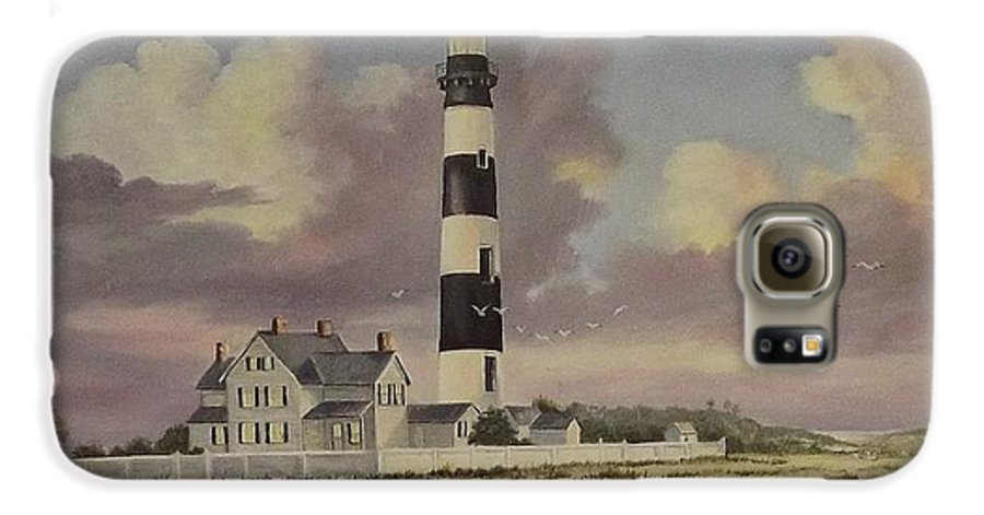 Lighthouse Galaxy S6 Case featuring the painting History Of Morris Lighthouse by Wanda Dansereau