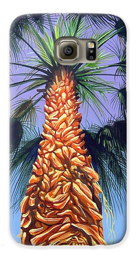 Palm Tree In Palm Springs California Galaxy S6 Case featuring the painting Holding Onto The Earth by Hunter Jay