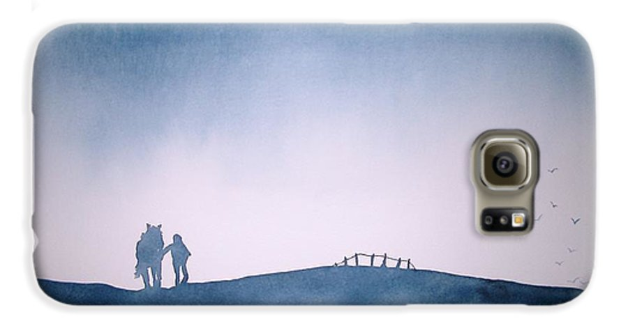 Horse Galaxy S6 Case featuring the painting Homeward Bound by Janice Gell