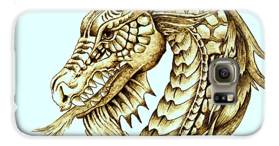 Dragon Galaxy S6 Case featuring the pyrography Horned Dragon by Danette Smith