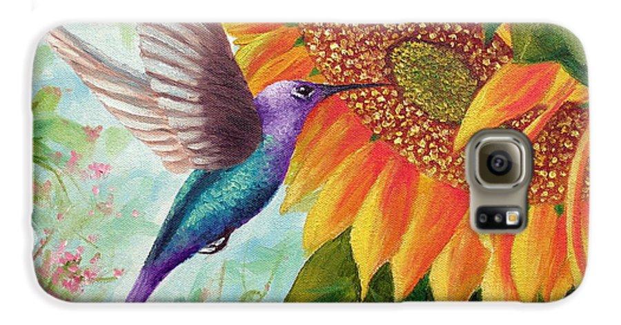 Hummingbird Galaxy S6 Case featuring the painting Humming For Nectar by David G Paul
