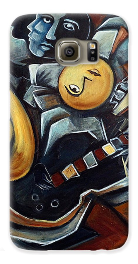 Cubism Galaxy S6 Case featuring the painting Indigo Blues by Valerie Vescovi