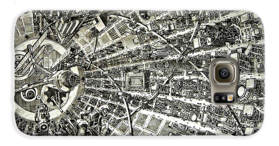 Cityscape Galaxy S6 Case featuring the drawing Inside Orbital City by Murphy Elliott