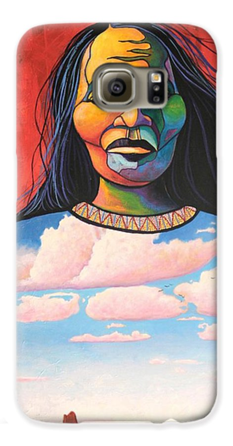 Native American Galaxy S6 Case featuring the painting Into Her Spirit by Joe Triano