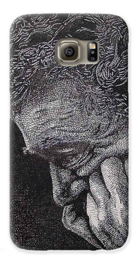 Portraiture Galaxy S6 Case featuring the drawing Introspection by Denis Gloudeman