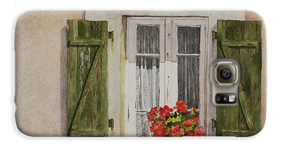 Watercolor Galaxy S6 Case featuring the painting Irvillac Window by Mary Ellen Mueller Legault