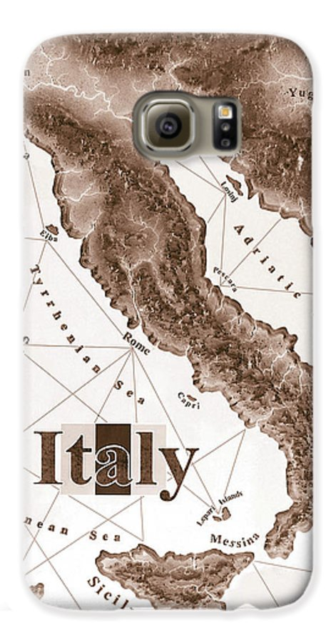 Italian Galaxy S6 Case featuring the mixed media Italian Map by Curtiss Shaffer