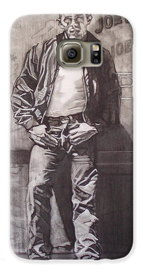 Charcoal; Icon;americana;cool;window;sidewalk;street;rock And Roll;jeans;t-shirt;diner;movie Star Galaxy S6 Case featuring the drawing James Dean by Sean Connolly